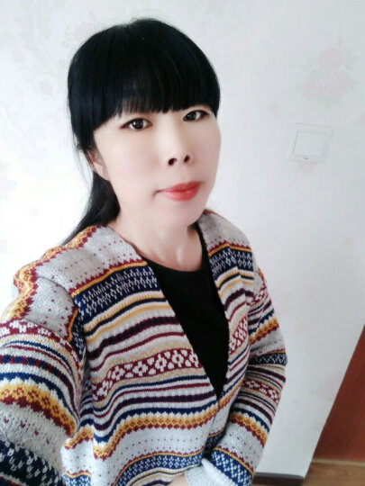 咏薇2018春款民族风几何花纹中长款毛衣针织开衫口袋外套 灰色花 均码 晒单图
