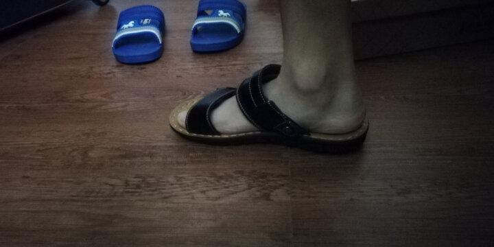MR.KANG牛皮软皮男士凉鞋沙滩鞋人字拖男凉拖鞋夏季休闲男鞋 5809棕色 41 晒单图