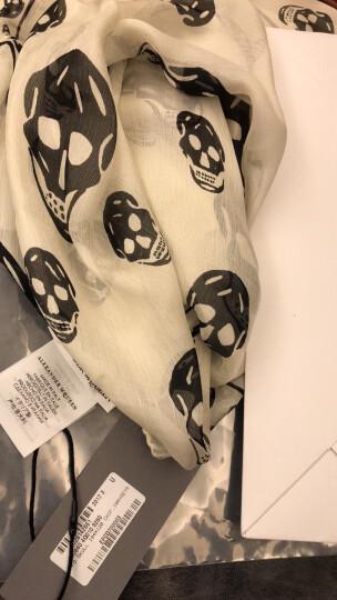 Alexander McQueen 亚历山大·麦昆 桑蚕丝黑色时尚骷髅头印花 中性围巾丝巾 110640 4Q010 1069 晒单图
