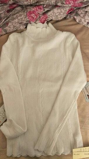 秀尔千佳针织衫女套头2017秋冬新款女装长袖韩版修身显瘦毛衣外穿甜美螺丝条纹 白-色 均码 晒单图