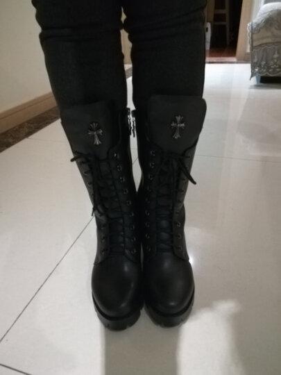 华洛威秋冬新款女靴中跟短靴女时尚粗跟马丁靴防水台中筒系带加棉机车女靴子 黑色单里(印花玛莎拉蒂) 36 晒单图