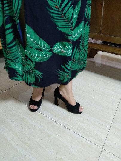 卓妃蔓高跟鞋鱼嘴单鞋女夏真皮粗跟2019春季新款时尚羊反绒浅口通勤OL女鞋 黑色 36 晒单图