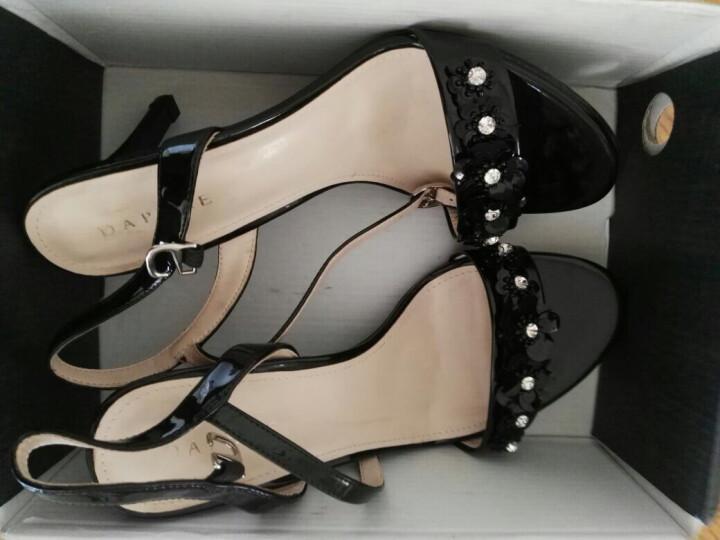 达芙妮品牌细高跟凉鞋女夏季新品优雅酒杯跟时尚亮片水钻扣带 黑色 37 晒单图