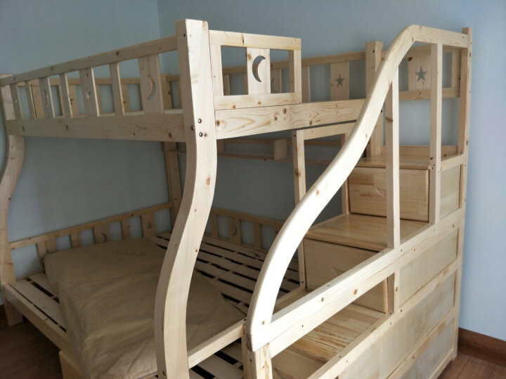 皇家御兔 床全实木床上下床双人床高低床双层床上下铺公主床 梯柜床上铺宽140下铺宽160 送货上门   并安装 晒单图