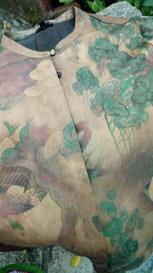 菲谷2019新款真丝香云纱宽松莨绸上衣缎面印花桑蚕丝衬衫外套 红色印花 XXL 晒单图