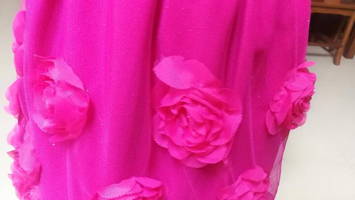 衣木堂 洋气童装2019新款秋冬女童时髦连衣裙儿童玫瑰花朵毛呢裙子中大童公主裙节日女孩演出服背心裙 玫红色花朵+打底衫 120 晒单图
