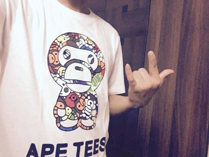 安逸猿Ape tee 情侣T恤2017夏短袖修身t恤男女潮牌纯棉韩版情侣装半袖衣 白色 男装XL(185/105A) 晒单图