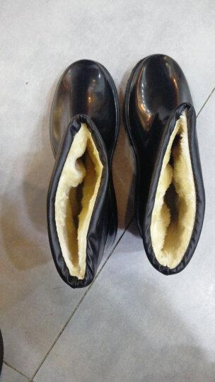 【免运费】低筒雨鞋男低帮加绒可拆套靴中筒加绒牛筋底耐磨防滑加棉防水鞋高筒水靴胶鞋中筒雨鞋套 黑色高筒102 44 晒单图