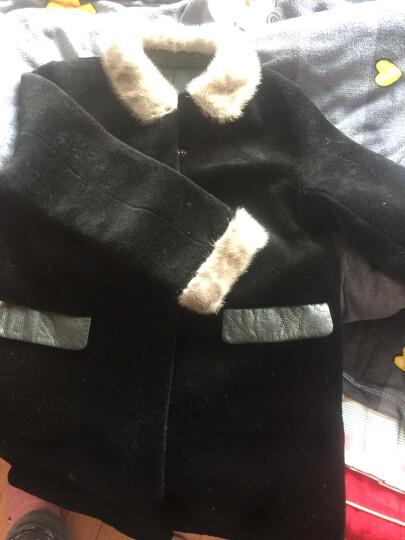 咔琦娜 2017秋冬新款羊羔毛外套中长款 整皮水貂毛领无内衬设计大衣女 军绿 M 晒单图
