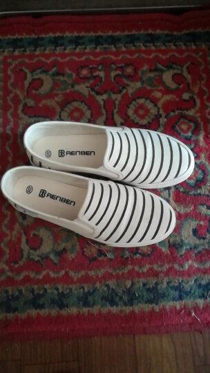 人本帆布鞋女鞋条纹护士鞋平底休闲一脚蹬小白鞋 白色 35 晒单图