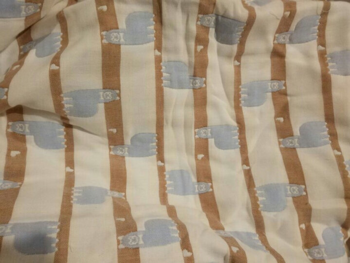 时代宠儿 儿童纯棉幼儿园婴儿纱布空调被宝宝秋冬季纱布被盖毯幼儿园午睡被单人夏季被子 黄色小象 110*110 晒单图