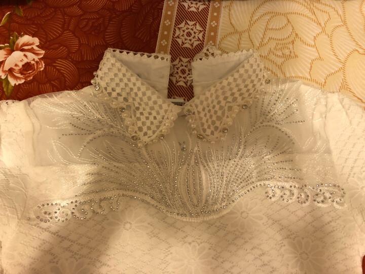 顾朵蔓 打底衫女2018秋冬新款娃娃领大码加绒长袖衫时尚百搭气质蕾丝上衣 XFLY122 白色加绒 M 晒单图