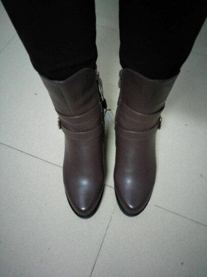粗跟短靴女靴坡跟女鞋冬季低筒女士中跟马丁靴加绒保暖中筒靴 红色 37正码 晒单图