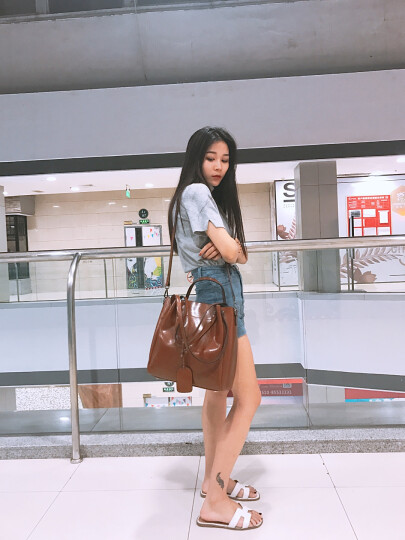 纳兰杜(Nalandu)女包2020新款单肩包女牛皮大包休闲时尚购物袋女士包包 棕色 晒单图