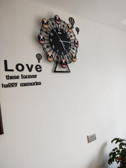 美世达(MEISD) 美世达挂钟 客厅创意现代座钟简约艺术个性时钟石英钟静音 加大号(红绿配)48*55cm配热气球英文墙体 晒单图