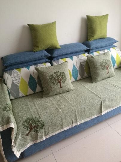 棉麻沙发垫四季沙发垫套装夏季欧式沙发套罩简约现代防滑沙发巾沙发坐垫子 许愿树 豆绿 70*70cm单条 晒单图