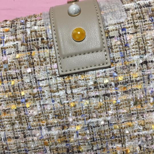 PINKO 女士浅棕色混纺拼皮燕子扣头链条单肩斜挎包 1P212N Y4HK AA2 晒单图