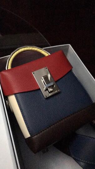 哥弟女包2019秋季新款牛皮拼色盒子包镜面宽肩带手提斜挎单肩包AB10061 红蓝咖 晒单图