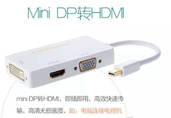 CABLE CREATION CD0031 MiniDP转HDMI/VGA/DVI三合一转换器 4K  Macbook雷电口扩展连接电视投影 土豪金 晒单图