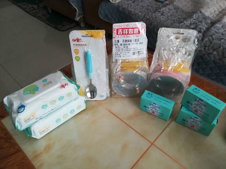 日康儿童餐具不锈钢碗 不锈钢勺 新生儿勺 3件套(白粉) 晒单图