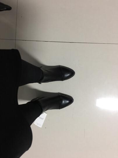 仙宝碟短靴女粗跟2018秋冬新款圆头雪地靴侧拉链皮带扣女靴女鞋子 1500黑色 39 晒单图