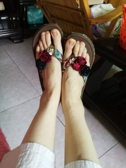 安俊  人字拖女厚底亚麻休闲拖鞋女士沙滩凉拖鞋防滑夹脚中跟凉拖鞋松糕坡跟拖鞋沙滩女鞋 中跟深蓝 35 晒单图