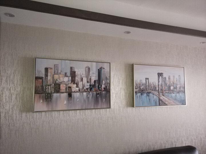 纽约 纯手绘油画 现代简约北欧风格设计师款抽象竖款玄关双联城市建筑风景装饰画 印象斑斓 C款 60X90cm 晒单图