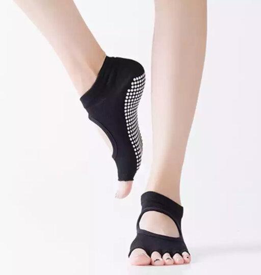 秋冬男女士专业防滑瑜伽袜子五指袜棉瑜伽手套露趾露背瑜珈袜棉 露趾瑜伽袜-黑色 晒单图