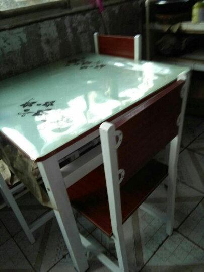 艾莎德 方桌四方餐桌椅组合 钢化玻璃正方形烤漆桌 厨房餐厅桌家用饭桌简易桌 黑玻璃+白板+黑架 90*90单桌 晒单图