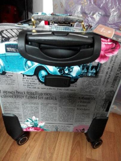 邦欣万向轮拉杆箱16/20/24英寸行李箱子时尚手提箱登机箱旅游箱拖箱男女款皮箱旅行箱包 深灰色玫瑰花报纸款 16寸方形 晒单图