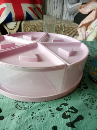 夏本 家用客厅干果瓜子坚果盘客厅创意花朵旋转水果盘塑料分格带盖糖果盒盘分格带盖水果拼盘收纳盒坚果盒 粉色蓝色随机发(直径26cm  高8cm) 晒单图