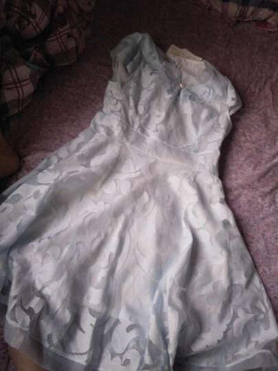 女装连衣裙2018春装夏季新款韩版套装女士印碎花蕾丝连衣裙雪纺性感假两件套套装裙中长沙滩裙子 白色波点 M 晒单图