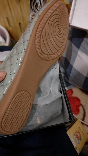 单鞋女平底圆头浅口休闲职业工作鞋一脚蹬软底女鞋蝴蝶节 粉色 37 晒单图