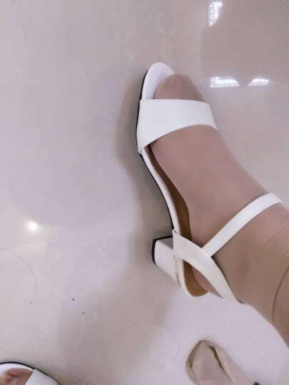 古来登2017新款同款凉鞋女夏中跟粗跟百搭一字扣带女鞋 白色 38 晒单图