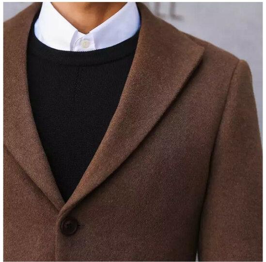 羊毛呢大衣男短款男士呢子外套加厚韩版修身英伦青年风衣潮流妮子大衣男款冬季 驼色 M 晒单图