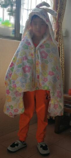 合雨小毛毯午睡披肩斗篷毯子珊瑚绒毯子秋冬季双层加厚披肩毯宅人披风斗蓬毯办公室午睡毯学生午睡斗篷 小花朵 晒单图