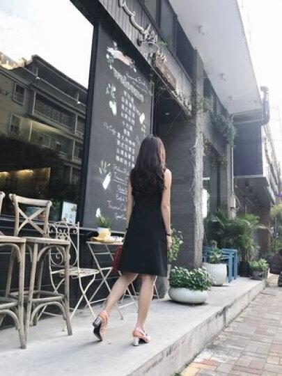 HCNTES 2018新款夏季黑色无袖打底连衣裙春装中长款赫本小黑裙修身显瘦背心裙短裙 黑色 S 晒单图