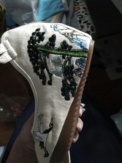 绣花鞋女汉服鞋子系带白仙鹤布鞋民族风高跟内增高古风鞋单鞋 【高跟】双鹤-系带白 39 晒单图