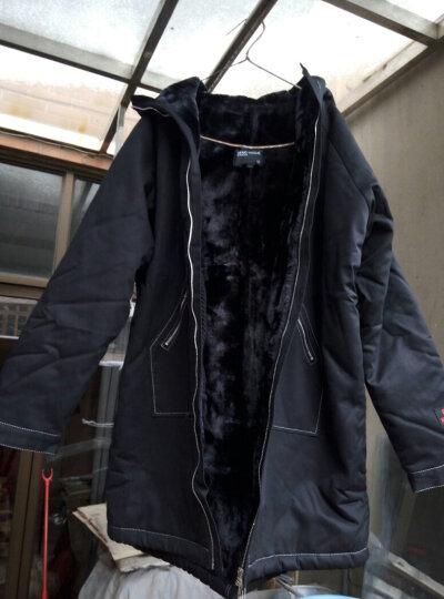 @帝壁 中长款连帽棉衣男2018冬季新款羊羔绒大毛领印花潮流棉服加厚加绒保暖外套男 黑色 XL (150-170斤) 晒单图