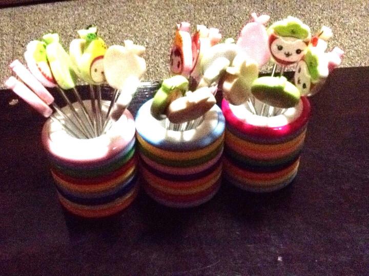 水果款水果叉8个装 创意居家可爱卡通树脂不锈钢儿童水果叉水果签带底座 晒单图