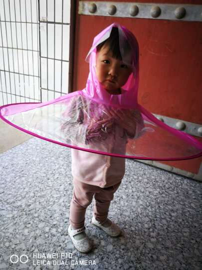雨天儿童雨衣雨伞帽折叠伞学生创意飞碟防雨披雨帽伞雨具 粉红色 S 晒单图
