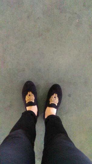 丹杰仕2017春夏新款豆豆鞋潮流男士社会精神小伙老虎头刺绣懒人鞋休闲绒面男鞋 黑色 40 晒单图