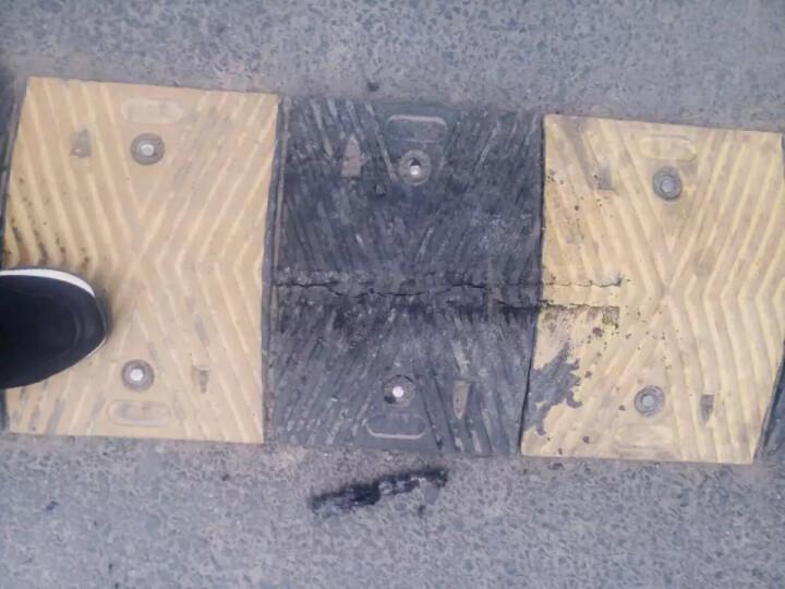 橡胶减速带反光减速带道路公路缓冲带橡胶线槽斜坡垫汽车减速板减速垄交通设施 圆角 晒单图