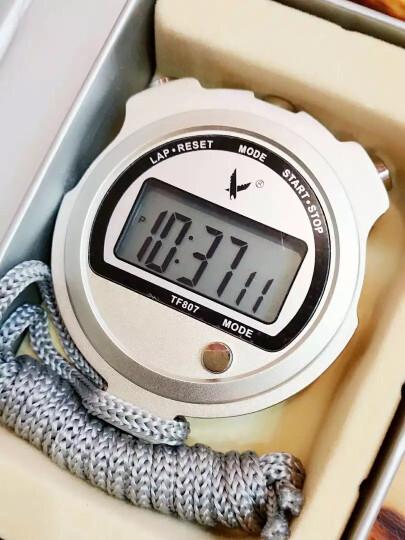 天福专业计时秒表 运动多功能测温度实验专用记忆跑表计时器金属外壳大显示屏单排两道TF807 晒单图