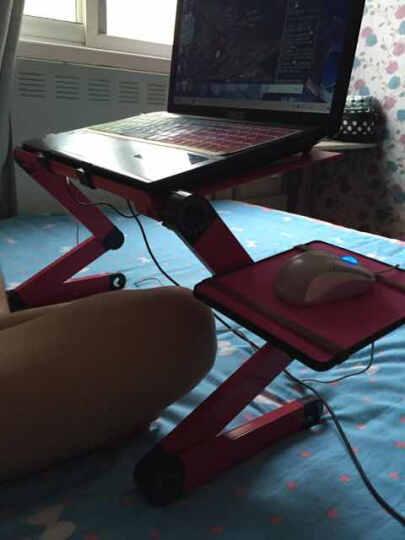 笔记本电脑桌床上桌子带风扇散热器折叠懒人铝合金电脑桌大号支架笔记本电脑桌床上桌子 玫红标准带双风扇+鼠标板 晒单图