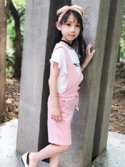 小灵头童装女童套装夏装2018新款夏季韩版品牌儿童背带裤套装中大童女孩短袖阔腿裤两件套小孩子衣服 桔色. 140码适合身高130左右 晒单图