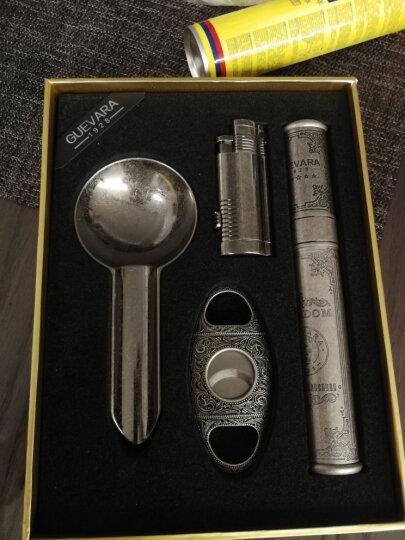 古巴雪茄打火机专用剪刀烟灰缸套装四件套礼盒雪茄烟缸套装单支保湿管套装男士商务生日礼物 古银色 晒单图