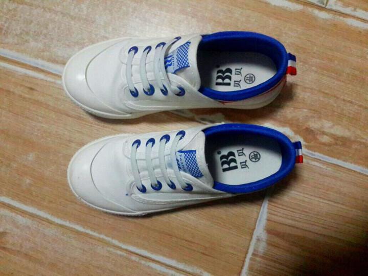 贝贝童鞋儿童小白鞋帆布鞋镂空春季男女童鞋大童小童布鞋低帮板鞋魔术贴潮学生球鞋 白蓝色 27 晒单图