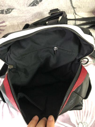 巴铂 2018新款双肩包女韩版潮软皮时尚百搭两用休闲旅行背包 黑色竖条8012 晒单图