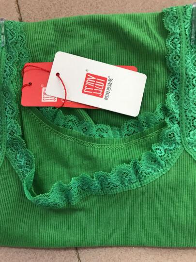 时尚总动员 蕾丝花边拼接螺纹棉吊带背心女士内搭外穿打底衫修身短款无袖上衣夏 绿色-蕾丝 均码80-140斤 晒单图
